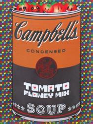 《 If There was impossible Campbell's Soup Cans... Tomato Flowey Mix 》 アクリル絵具、ウレタン塗装、銀鏡塗装、UVシルクスクリーン印刷、木製パネル 60.6×45.5×3.0cm 2018
