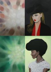 上「Untitled (Lindsey) /Lindsey」2012, oil on canvas, 50×50cm,45.5×45.5cm  下「Untitled(Lynda) /Lynda」2012, oil on canvas, 40×40cm,41