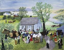 """アンナ・メアリー・ロバートソン・""""グランマ""""・モーゼス《農場の引越し》1951年 個人蔵(ギャラリー・セント・エティエンヌ、ニューヨーク寄託) © 2021, Grandma Moses Properties Co., NY"""