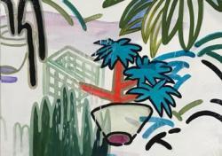 「いつかの、どこかの、道端」 素材:油彩・アクリル絵の具・キャンバス 制作年:2019年 サイズ:455×530mm (F10)