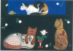 中島千波 《猫ひと時》 2013年 個人蔵