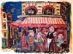 パリの赤いキャフェ| 紙に墨、インク、油彩| 57×76.5cm | 2012