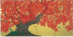 中島千波「秋季紅葉図」四曲一隻屏風