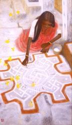 秋野不矩《朝の祈り》 1987 年、145.0×85.0cm 浜松市秋野不矩美術館蔵
