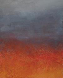 「火 (六大に関連して)」 アルミ板、油彩 31x39cm