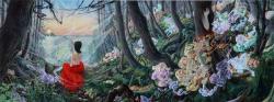 写真キャプション 「死者の書 (竹生島)」 2015 パネルに綿布、アクリル、油彩 60.5 x 162 cm © 岡本瑛里 / Courtesy Mizuma Art Gallery