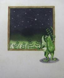 「がま先生と夜空」264×220mm エッチング・アクアチント/雁皮摺り・ハーネミューレ