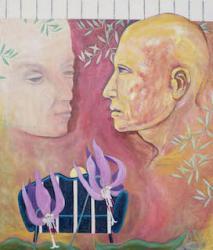 「東征・片栗の野原の誓い(1)」2019年 北辻良央  oil on canvas 53.0x45.5cm ©️+Y Gallery,courtesy of +Y Gallery