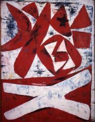 斎藤義重《鬼》1957年 油彩、合板 神奈川県立近代美術館蔵