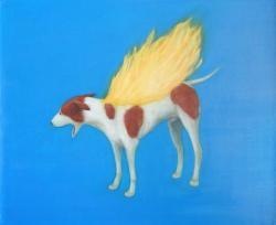 「burning dog」 2020 アクリル、油彩、板 63×76cm