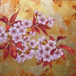「小さな庭-山桜-」24x24cm シナパネル
