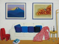 「The Azumino Studio」with My Father's Painting / 油彩、キャンバス 112×145 cm