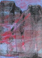 「Portrait `18DJ2」 素材:パネルに和紙、アクリル、油彩 サイズ:210mm×297mm 制作年:2018年