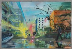 島田真悠子 「侵略」キャンバスに油彩 130×194 cm