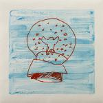 下條沙恵子 snow globe, 2012, 36x36cm, 14 1/8x14 1/8in., monotype, oil on paper