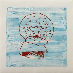 下條沙恵子 snow globe, 2012, 36x36cm, 14 1/8x14 1/8in., monotype, oil on paper