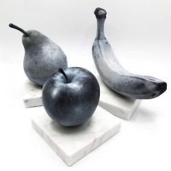 Apple (B&W), Pear(B&W), Banana(B&W), 2021, 1/1 scale, oil paint on wood, marble