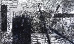 タイトル「嘘をいれる箱」 技法 銅版画 エッチング技法 サイズ 35.8×59.0㎝ 2017年 制作