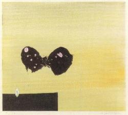 清宮質文 ある空間(蝶) 1962年 木版 茨城県立近代美術館蔵(照沼コレクション)