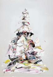 西川茂 梱包されたレオナルド・ダ・ヴィンチ像 #2. 2020 油彩・キャンバス 116.7 x 80.3 cm