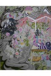 水野里奈 Rina MIZUNO 蜃気楼をみわたす, 2015  ball-point pen and oil on canvas 100.0×80.0 cm (c)Rina Mizuno Courtesy of taimatz