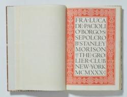 """""""Fra Luca de Pacioli of Borgo S. Sepolcro"""" Stanley Morison, Bruce Rogers 1933年"""
