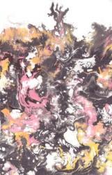 MOVE 552 × 349mm / 和紙・墨・彩色液・アクリル / 2013 年