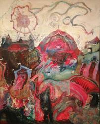 「情緒不安定なクマの夢見」2012 油彩、カンヴァス162×130cm