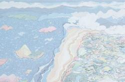 curry and rice 2012年 97.0×194.0cm アクリル、鉛筆、綿布、木製パネル 「VOCA展2013」出品作品