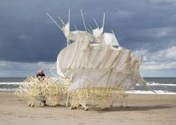 長崎展のための新作を制作中のテオ・ヤンセン ©Theo Jansen