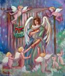 クリスマス、雪の降る日の大天使たち♪ 油絵 F10号 キャンバス