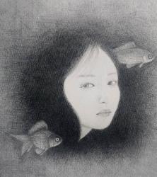 東マユミ『憂い』鉛筆画