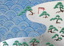 小暑 信号松原 図, 2013, 紙本銀地着色, 33,4×24.2cm ©Taro TAMAMOTO courtesy of imura art gallery