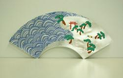 山本太郎・「信号住之江図扇子」 狂言用扇子・紙本銀次着色・2018年