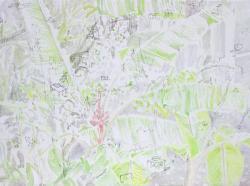 《温室のハレーション/そーっと運んで隠れる》2019 年,455mm×333mm,キャンバス、油彩、油彩転写