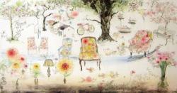 「春の席」 2015 銅版画、手彩色 36.2x52.8cm