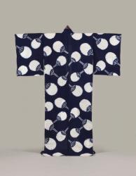 《紺木綿地団扇模様浴衣》 大正~昭和時代(20世紀前半) 東京都江戸東京博物館 [前期展示]