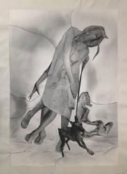"""Muybridge's Twist"", No2 drawing, photography, collage on canvas 277 x 210cm 2014 ©Yuki ONODERA"